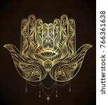 ornate hand drawn hamsa.... | Shutterstock .eps vector #766361638