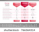 light pricing table in red... | Shutterstock .eps vector #766364314