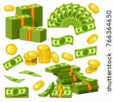 money banknotes and golden... | Shutterstock .eps vector #766364650