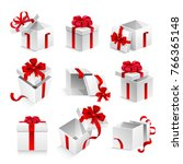 gift boxes with ribbon bow... | Shutterstock .eps vector #766365148