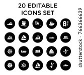 boat icons. set of 20 editable... | Shutterstock .eps vector #766366639