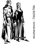 gothic formal dress  2 black... | Shutterstock .eps vector #76636786