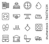 thin line icon set   houses ... | Shutterstock .eps vector #766376134