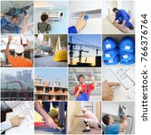 collage with working builders... | Shutterstock . vector #766376764