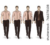 vector set of sketch men models.... | Shutterstock .eps vector #766378108