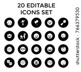 happiness icons. set of 20... | Shutterstock .eps vector #766379530