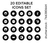 smile icons. set of 20 editable ... | Shutterstock .eps vector #766380664