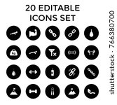 strength icons. set of 20... | Shutterstock .eps vector #766380700