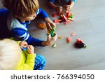 kids making origami crafts with ... | Shutterstock . vector #766394050