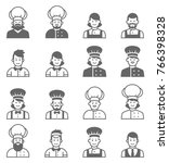 people occupations icons. cook... | Shutterstock . vector #766398328