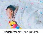 a cute asian newborn baby boy...   Shutterstock . vector #766408198
