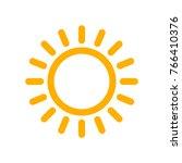 yellow sun icon in flat design. ... | Shutterstock .eps vector #766410376