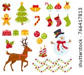 set of christmas elements. new... | Shutterstock .eps vector #766417813