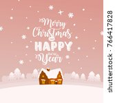 merry christmas greeting card.... | Shutterstock .eps vector #766417828