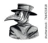 plague doctor hand drawing... | Shutterstock .eps vector #766421818