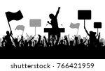 crowd of people demonstrating... | Shutterstock .eps vector #766421959