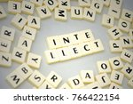 text intellect on the gray... | Shutterstock . vector #766422154