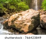 closeup of rocks at the foot of ... | Shutterstock . vector #766423849