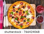 delicious homemade pizza with... | Shutterstock . vector #766424068