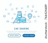 car sharing concept  searching... | Shutterstock .eps vector #766424689