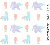 children animals horse bird... | Shutterstock .eps vector #766424716