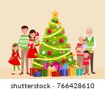 big happy family at a christmas ... | Shutterstock .eps vector #766428610