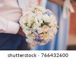 very gentle wedding bouquet | Shutterstock . vector #766432600