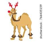cheerful camel in a deer... | Shutterstock .eps vector #766435159
