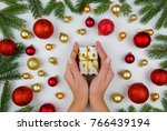 female hands holding a small... | Shutterstock . vector #766439194