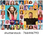 the collage of surprised people | Shutterstock . vector #766446793