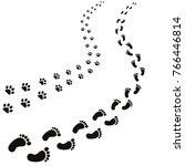 animal and human footprints... | Shutterstock . vector #766446814