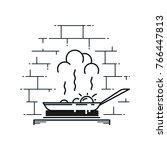frying pan. line art. | Shutterstock .eps vector #766447813