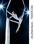young woman gymnast. on black... | Shutterstock . vector #76645156