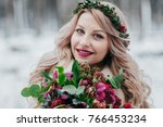 face of a smiling girl of... | Shutterstock . vector #766453234