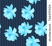 seamless striped floral pattern ... | Shutterstock .eps vector #766455424
