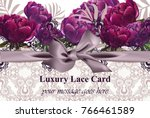 lace card with peony flowers... | Shutterstock .eps vector #766461589