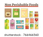 non perishable food icons flat... | Shutterstock .eps vector #766466560