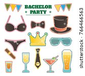 bachelor party vector... | Shutterstock .eps vector #766466563