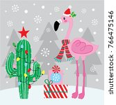 flamingo with cactus | Shutterstock .eps vector #766475146
