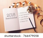 resolution 2018 with gold... | Shutterstock . vector #766479058