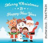 merry christmas  happy... | Shutterstock .eps vector #766479634