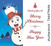 snowman with big signboard....   Shutterstock .eps vector #766479646