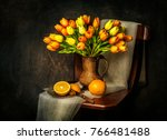 classic still life with bouquet ... | Shutterstock . vector #766481488