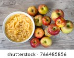 an applesauce with apples on a... | Shutterstock . vector #766485856