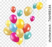 glossy happy birthday balloons... | Shutterstock .eps vector #766488166