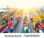 container container ship in... | Shutterstock . vector #766490830