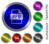 pfb file format icons on round... | Shutterstock .eps vector #766494790