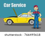 illustration of a car service... | Shutterstock .eps vector #766495618