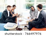 he is an investor. men and a... | Shutterstock . vector #766497976