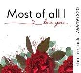 vector floral card design ... | Shutterstock .eps vector #766499320